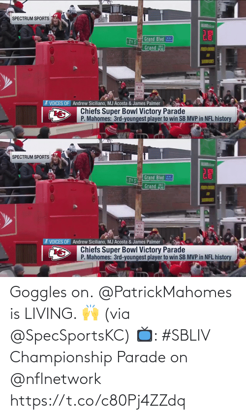 Living: Goggles on.  @PatrickMahomes is LIVING. 🙌 (via @SpecSportsKC)  📺: #SBLIV Championship Parade on @nflnetwork https://t.co/c80Pj4ZZdq