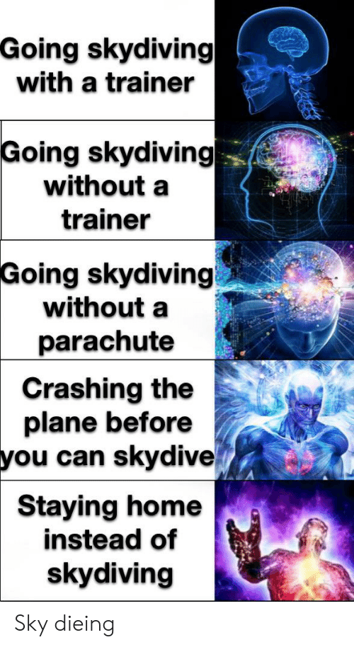 skydive: Going skydiving  with a trainer  Going skydiving  without a  trainer  Going skydiving  without a  parachute  Crashing the  plane before  you can skydive  Staying home  instead of  skydiving Sky dieing