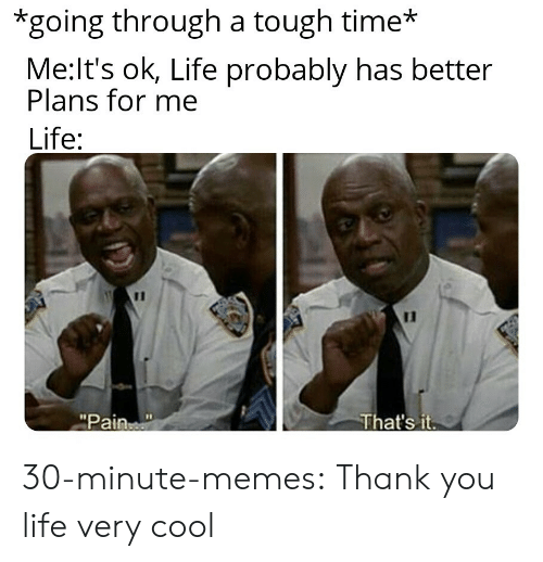 """Life, Memes, and Tumblr: *going through a tough time*  Me:It's ok, Life probably has better  Plans for me  Life:  11  That's it  """"Pain 30-minute-memes:  Thank you life very cool"""