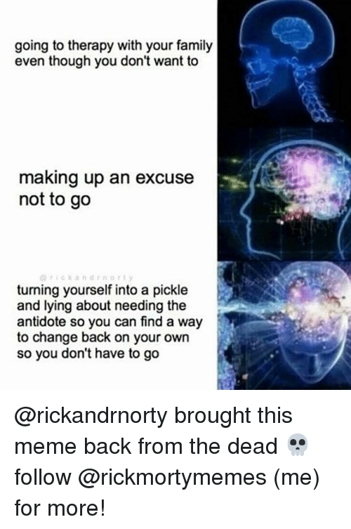Antidote: going to therapy with your family  even though you don't want to  making up an excuse  not to go  turning yourself into a pickle  and lying about needing the  antidote so you can find a way  to change back on your own  so you don't have to go @rickandrnorty brought this meme back from the dead 💀 follow @rickmortymemes (me) for more!