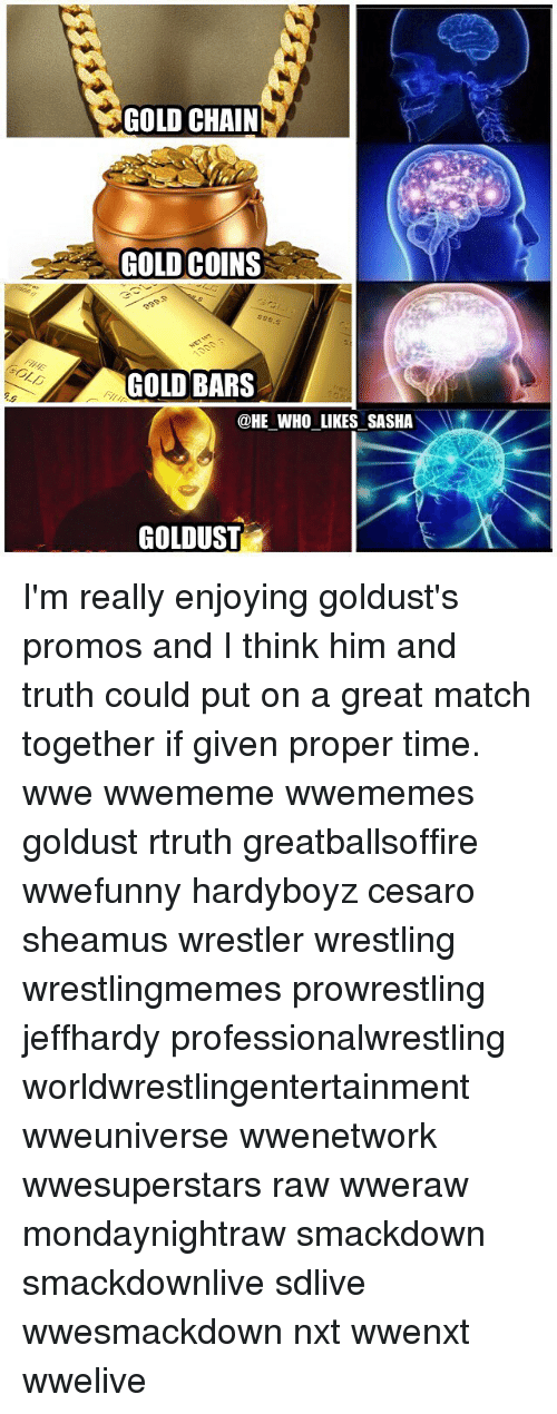 sheamus: GOLD CHAIN  GOLD COINS  GOLD BARS  @HE WHO LIKES SASHA  GOLDUST I'm really enjoying goldust's promos and I think him and truth could put on a great match together if given proper time. wwe wwememe wwememes goldust rtruth greatballsoffire wwefunny hardyboyz cesaro sheamus wrestler wrestling wrestlingmemes prowrestling jeffhardy professionalwrestling worldwrestlingentertainment wweuniverse wwenetwork wwesuperstars raw wweraw mondaynightraw smackdown smackdownlive sdlive wwesmackdown nxt wwenxt wwelive