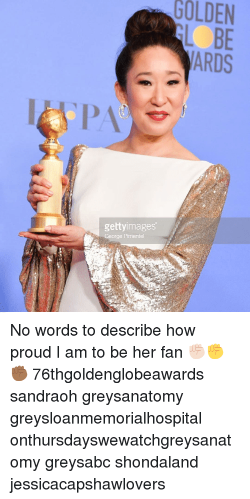 Memes, Proud, and 🤖: GOLDEN  BE  gettyimages  George Pimentel No words to describe how proud I am to be her fan ✊🏻✊✊🏾 76thgoldenglobeawards sandraoh greysanatomy greysloanmemorialhospital onthursdayswewatchgreysanatomy greysabc shondaland jessicacapshawlovers