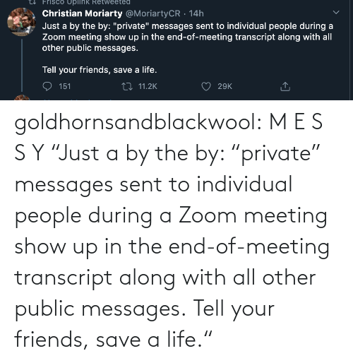 "Messages: goldhornsandblackwool:  M E S S Y ""Just a by the by: ""private"" messages sent to individual people during a Zoom meeting show up in the end-of-meeting transcript along with all other public messages.  Tell your friends, save a life."""