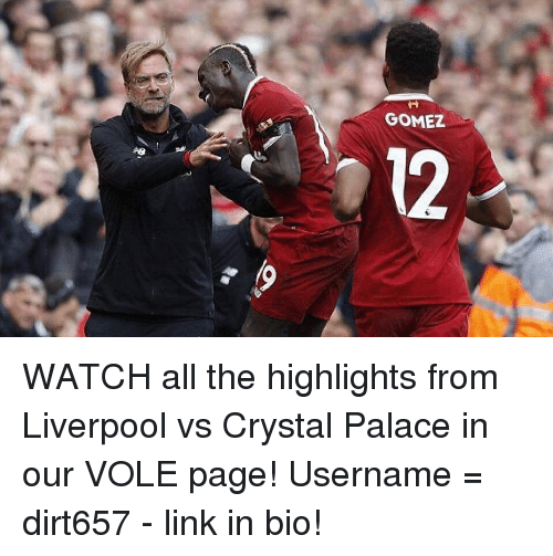 crystal palace: GOMEZ  12 WATCH all the highlights from Liverpool vs Crystal Palace in our VOLE page! Username = dirt657 - link in bio!