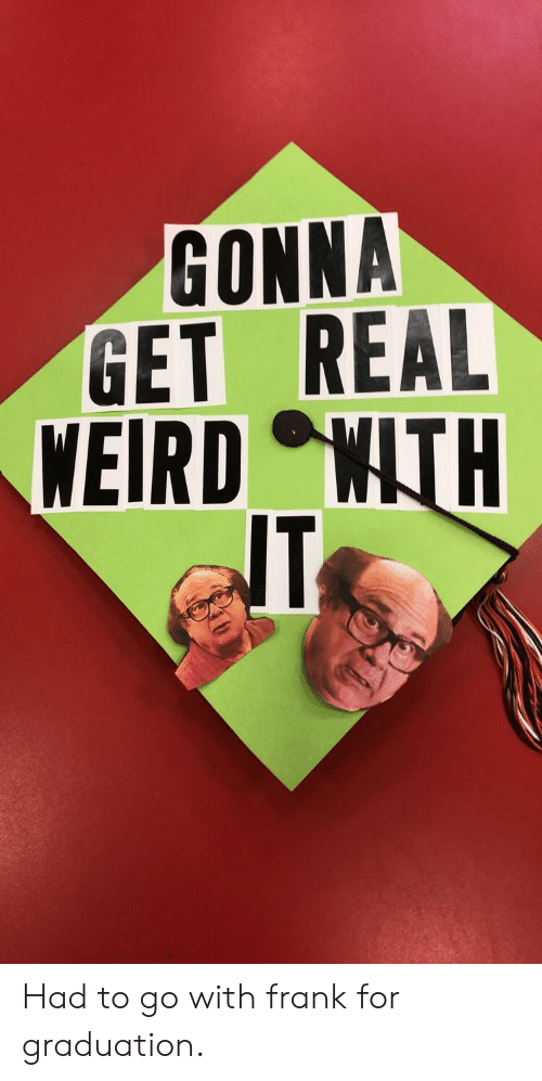 Weird, Real, and For: GONNA  GET REAL  WEIRD WTH Had to go with frank for graduation.