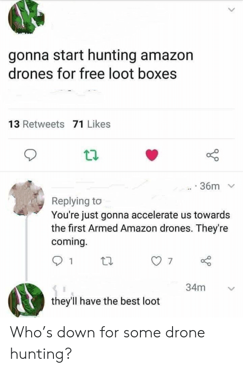 Drone: gonna start hunting amazon  drones for free loot boxes  13 Retweets 71 Likes  36m  Replying to  You're just gonna accelerate us towards  the first Armed Amazon drones. They're  coming.  34m  they'll have the best loot Who's down for some drone hunting?