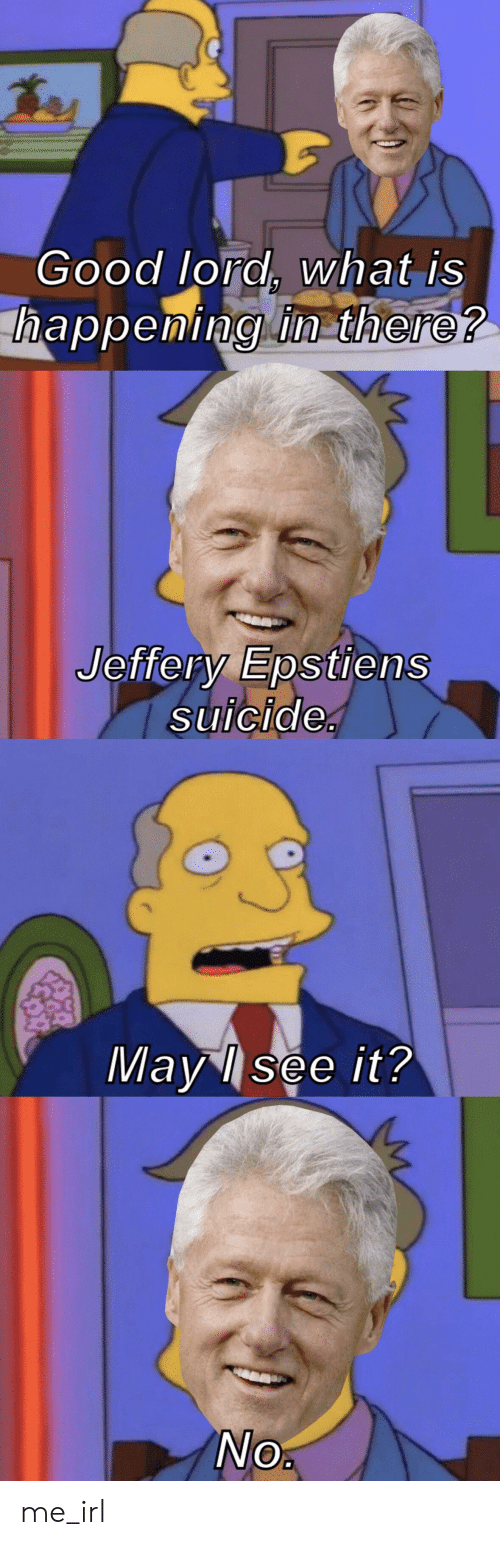 Good Lord What Is Happeming In There Jeffery Epstiens Suicide May See It No Me Irl Good Meme On Ballmemes Com