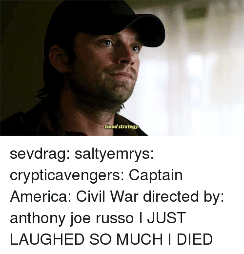 America, Captain America: Civil War, and Target: Good strategy sevdrag: saltyemrys:   crypticavengers:  Captain America: Civil War directed by: anthony  joe russo     I JUST LAUGHED SO MUCH I DIED