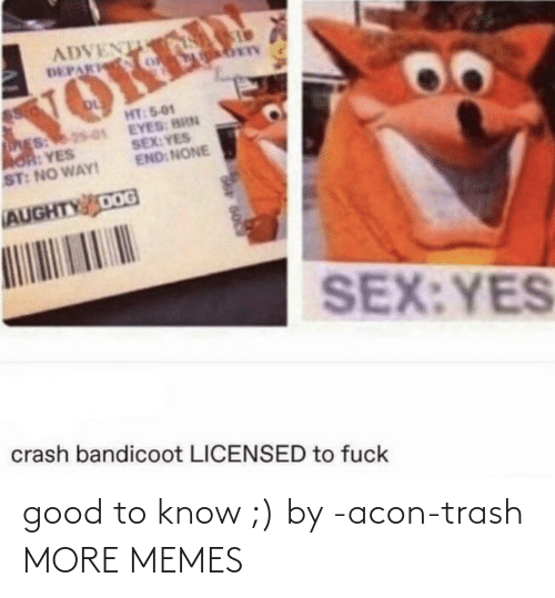 Trash: good to know ;) by -acon-trash MORE MEMES