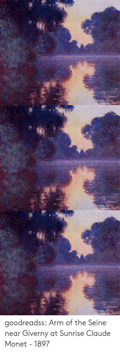 Sunrise: goodreadss: Arm of the Seine near Giverny at Sunrise Claude Monet - 1897