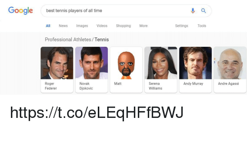 Google, News, and Roger: Google  best tennis players of all time  All News Images Videos ShoppingMore  Settings  ools  Professional Athletes/Tennis  Roger  Federer  Novak  Djokovic  Matt  Serena  Williams  Andy Murray  Andre Agassi https://t.co/eLEqHFfBWJ