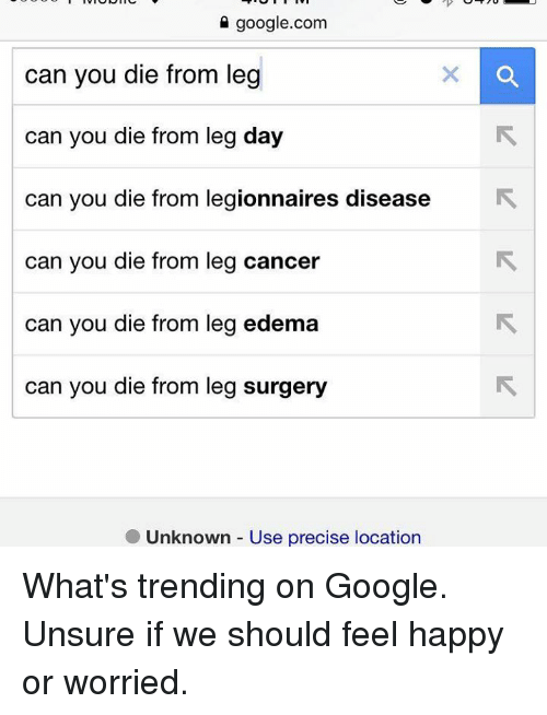 edema: google.com  can you die from leg  can you die from leg day  Can you die from legionnaires disease  can you die from leg cancer  can you die from leg edema  can you die from leg surgery  Unknown Use precise location What's trending on Google.  Unsure if we should feel happy or worried.
