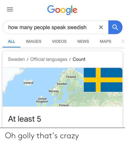 Crazy, Google, and News: Google  how many people speak swedish  X  NEWS  ALL  IMAGES  VIDEOS  MAPS  Sweden/Official languages / Count  Finland  Iceland  Sweden  Norway  United  Kingdom  Poland  At least 5 Oh golly that's crazy