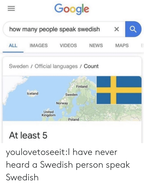 Swedish: Google  how many people speak swedish  X  NEWS  ALL  IMAGES  VIDEOS  MAPS  Sweden / Official languages / Count  Finland  Iceland  Sweden  Norway  United  Kingdom  Poland  At least 5 youlovetoseeit:I have never heard a Swedish person speak Swedish
