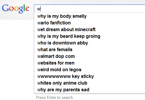 downtown: Google w  why is my body smelly  wario fanfiction  wet dream about minecraft  why is my beard keep groing  who is downtown abby  what are femails  walmart dop com  websites for men  weird mold on legos  wwwwwwwww key sticky  whites only anime club  why are my parents sad  Press Enter to search.