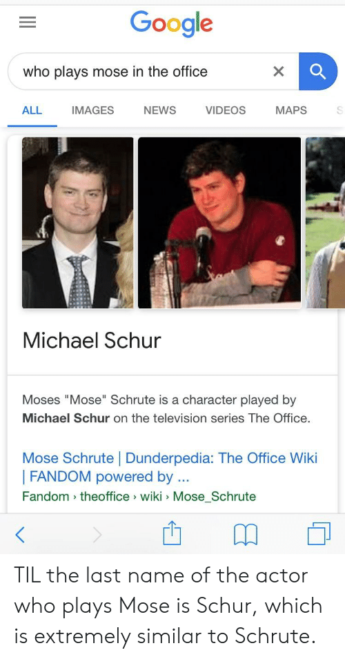 "Google, News, and The Office: Google  who plays mose in the office  ALL  IMAGES  NEWS  VIDEOS  MAPS  Michael Schur  Moses ""Mose"" Schrute is a character played by  Michael Schur on the television series The Office.  Mose Schrute 