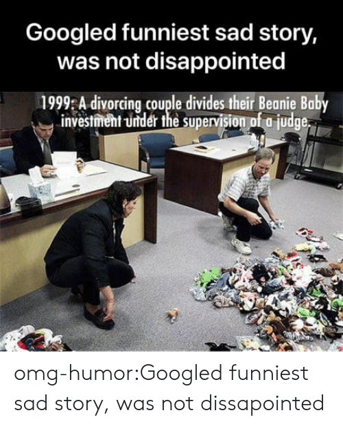 Disappointed, Omg, and Tumblr: Googled funniest sad story,  was not disappointed  1999 A divorcing couple divides their Beanie Baby  investment -under the supervision of a judge omg-humor:Googled funniest sad story, was not dissapointed