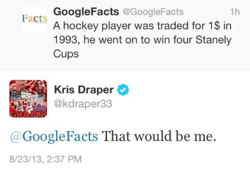 Facts, Hockey, and Player: GoogleFacts @GoogleFacts  A hockey player was traded for 1$ in  1993, he went on to win four Stanely  Cups  1h  Facts  Kris Draper  @kdraper33  @GoogleFacts That would be me.  8/23/13, 2:37 PM