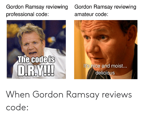 Gordon Ramsay, Moist, and Reviews: Gordon Ramsay reviewing  professional code:  Gordon Ramsay reviewing  amateur code:  The Godels  It's nice and moist...  delicious When Gordon Ramsay reviews code: