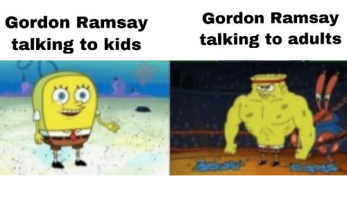 Gordon Ramsay, Kids, and Talking: Gordon Ramsay  talking to adults  Gordon Ramsay  talking to kids