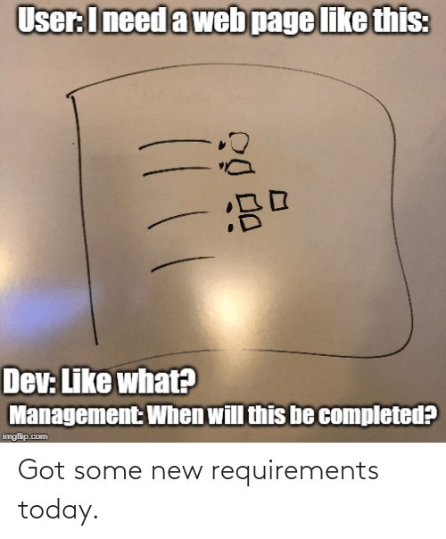 Some: Got some new requirements today.