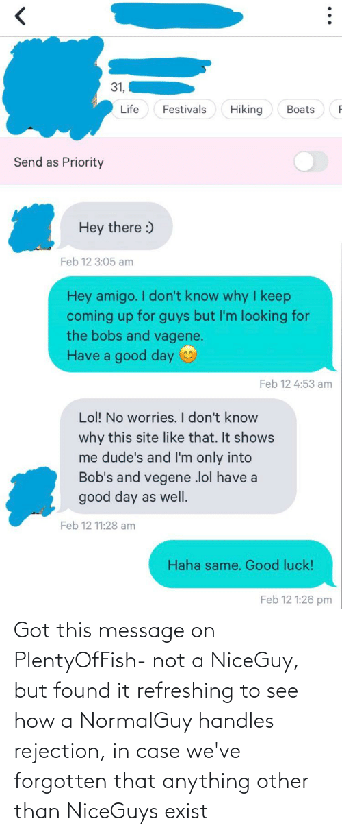anything: Got this message on PlentyOfFish- not a NiceGuy, but found it refreshing to see how a NormalGuy handles rejection, in case we've forgotten that anything other than NiceGuys exist