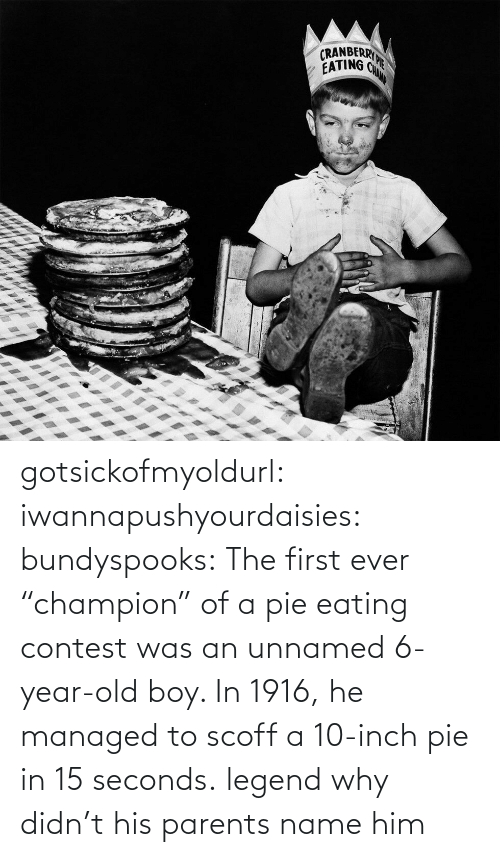 "inch: gotsickofmyoldurl: iwannapushyourdaisies:  bundyspooks:  The first ever ""champion"" of a pie eating contest was an unnamed 6-year-old boy. In 1916, he managed to scoff a 10-inch pie in 15 seconds.  legend  why didn't his parents name him"