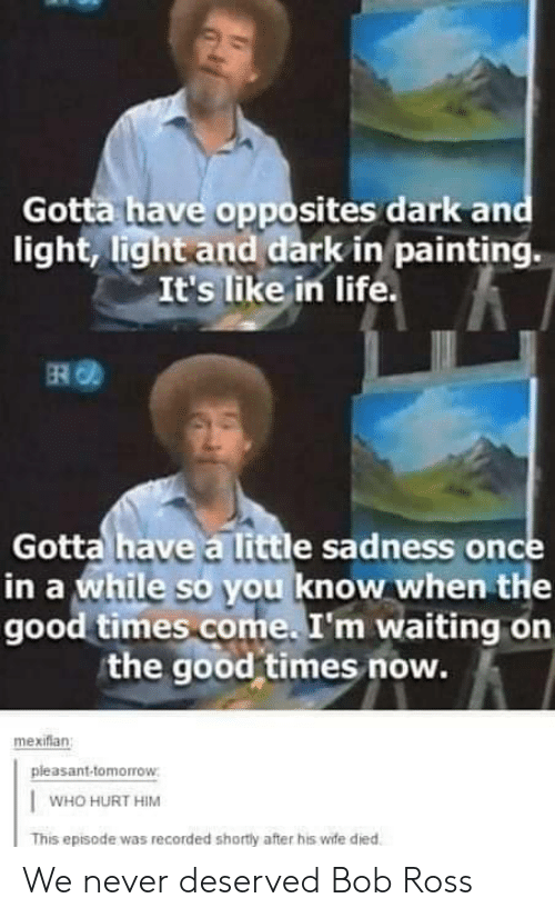 Life, Bob Ross, and Good: Gotta have opposites dark and  light, light and dark in painting.  It's like in life.  ERO  Gotta have a little sadness once  in a while so you know when the  good times come. I'm waiting on  the good times now.  mexiflan  pleasant-tomorrow  WHO HURT HIM  This episode was recorded shortly after his wife died We never deserved Bob Ross