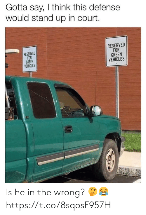 Green, Think, and Court: Gotta say, I think this defense  would stand up in court.  RESERVED  FOR  GREEN  VEHICLES  RESERVED  FOR  GREEN  VEHICLES Is he in the wrong? 🤔😂 https://t.co/8sqosF957H