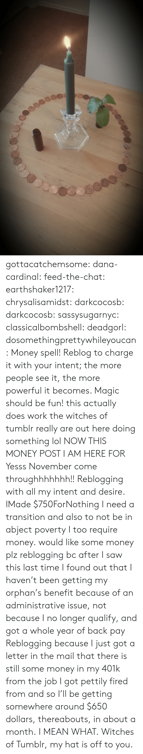 orphan: gottacatchemsome: dana-cardinal:  feed-the-chat:  earthshaker1217:  chrysalisamidst:  darkcocosb:  darkcocosb:  sassysugarnyc:  classicalbombshell:  deadgorl:  dosomethingprettywhileyoucan:  Money spell! Reblog to charge it with your intent; the more people see it, the more powerful it becomes. Magic should be fun!  this actually does work the witches of tumblr really are out here doing something lol  NOW THIS MONEY POST I AM HERE FOR  Yesss November come throughhhhhhh!!  Reblogging with all my intent and desire.  IMade $750ForNothing  I need a transition and also to not be in abject poverty  I too require money.  would like some money plz  reblogging bc after I saw this last time I found out that I haven't been getting my orphan's benefit because of an administrative issue, not because I no longer qualify, and got a whole year of back pay  Reblogging because I just got a letter in the mail that there is still some money in my 401k from the job I got pettily fired from and so I'll be getting somewhere around $650 dollars, thereabouts, in about a month. I MEAN WHAT. Witches of Tumblr, my hat is off to you.