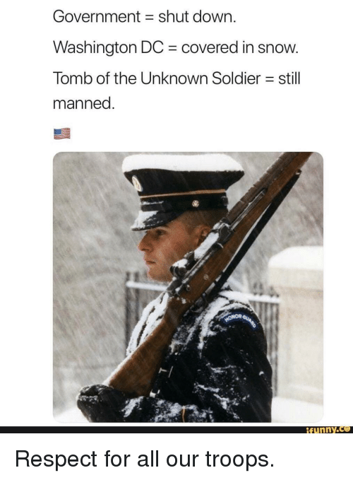 Washington Dc: Government shut down.  Washington DC covered in snow  Tomb of the Unknown Soldier still  manned  ト|  funny Respect for all our troops.