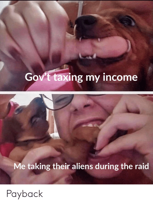 the raid: Gov't taxing my income  Me taking their aliens during the raid Payback