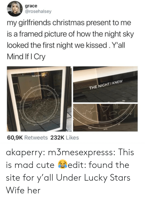 Yall Mind If I: grace  @rosehalsey  my girlfriends christmas present to me  is a framed picture of how the night sky  looked the first night we kissed.Y'all  Mind If I Cry  THE NIGHTIKNEW  THE NIGHT I KNEW  60,9K Retweets 232K Likes akaperry:  m3mesexpresss:  This is mad cute 😂edit: found the site for y'allUnder Lucky Stars  Wife her