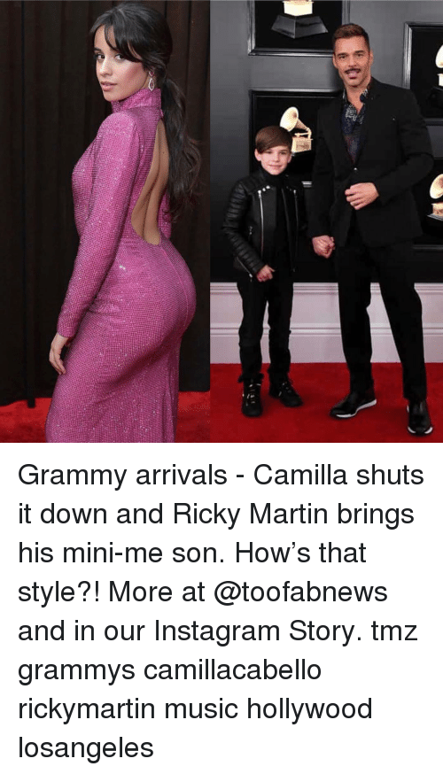 Grammys, Instagram, and Martin: Grammy arrivals - Camilla shuts it down and Ricky Martin brings his mini-me son. How's that style?! More at @toofabnews and in our Instagram Story. tmz grammys camillacabello rickymartin music hollywood losangeles