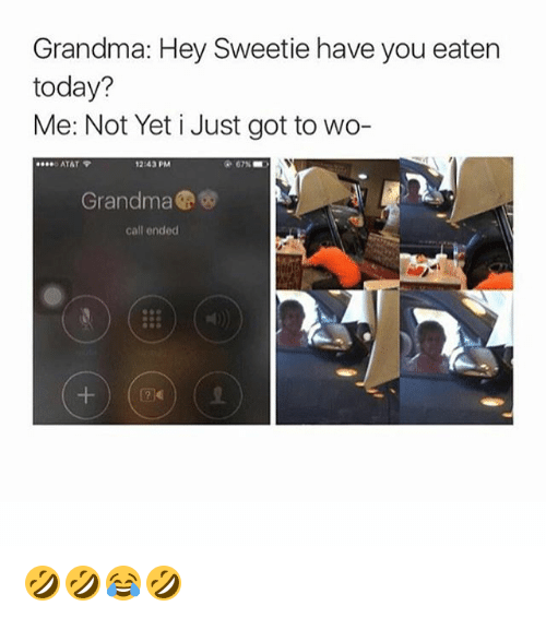 Atat: Grandma: Hey Sweetie have you eaten  today?  Me: Not Yet i Just got to wo-  ATAT  12:43 PM  67% ■ )  Grandma  call ended  囝く) 🤣🤣😂🤣