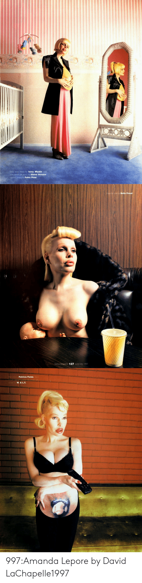 Shoes, Tumblr, and Versace: Gray wool dress by Issey Miyake over  pink mixed-sik dress by Gianni Versace  eather shoes by Fabio Piras   Faux-fur coat by Bella Freud  Detour Magazine 137 June/July 1997   a by  Patricia Fields  by 997:Amanda Lepore by David LaChapelle1997