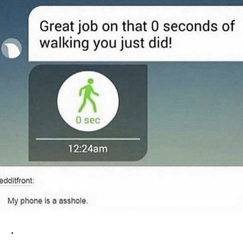Phone, Asshole, and Sec: Great job on that 0 seconds of  walking you just did!  0 sec  12:24am  edditfront:  My phone is a asshole. .
