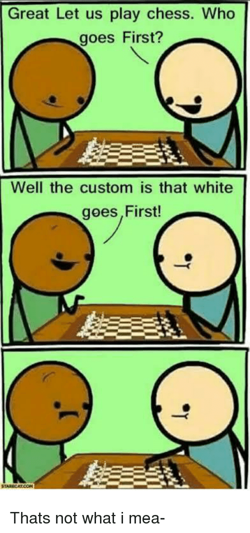 Chess, White, and Who: Great Let us play chess. Who  goes First?  Well the custom is that white  goes,First! Thats not what i mea-