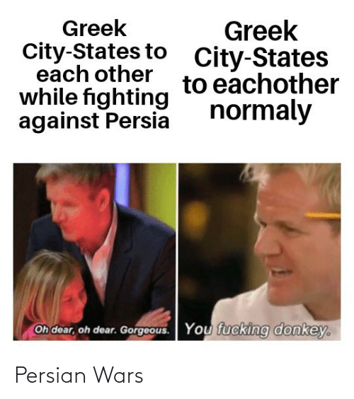 You Fucking: Greek  City-States to  each other  while fighting  against Persia  Greek  City-States  to eachother  normaly  Oh dear, oh dear. Gorgeous.  You fucking donkey. Persian Wars