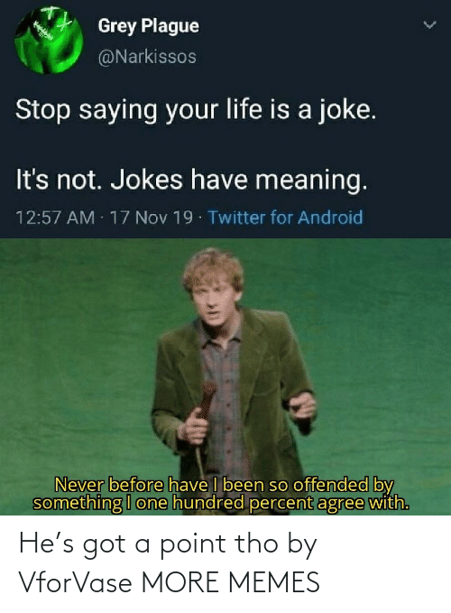 Percent: Grey Plague  @Narkissos  Stop saying your life is a joke.  It's not. Jokes have meaning.  12:57 AM 17 Nov 19 Twitter for Android  Never before have I been so offended by  something I one hundred percent agree with. He's got a point tho by VforVase MORE MEMES