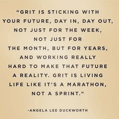 """Ally: """"GRIT IS STICKING WITH  YOUR FUTURE, DAY IN, DAY OUT,  NOT JUST FOR THE WEEK,  NOT JUST FOR  THE MONTH, BUT FOR YEARS,  AND WORKING RE ALLY  HARD TO MAKE THAT FUTURE  A REALITY. GRIT IS LIVING  LIFE LIKE IT'S A MARATHON,  NOT A SPRINT.""""  -ANGELA LEE DUCKWORTH"""
