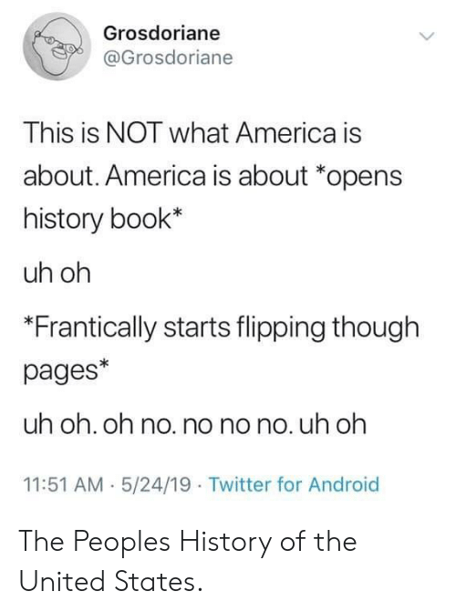 Flipping: Grosdoriane  @Grosdoriane  This is NOT what America is  about. America is about *opens  history book*  uh oh  *Frantically starts flipping though  pages*  uh oh. oh no. no no no. uh oh  11:51 AM 5/24/19 Twitter for Android The Peoples History of the United States.