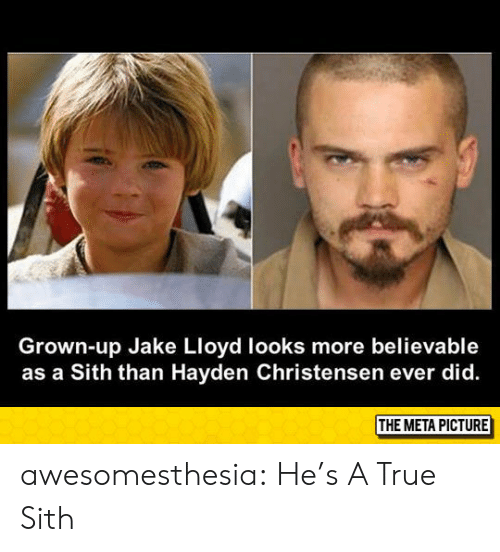 Believable: Grown-up Jake Lloyd looks more believable  as a Sith than Hayden Christensen ever did. awesomesthesia:  He's A True Sith