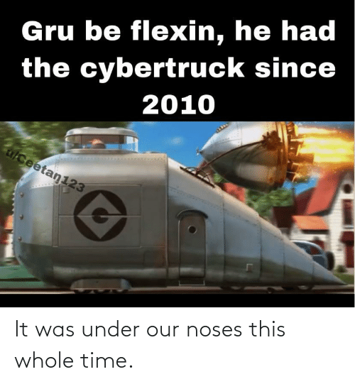 Whole Time: Gru be flexin, he had  the cybertruck since  2010  alceetan123 It was under our noses this whole time.