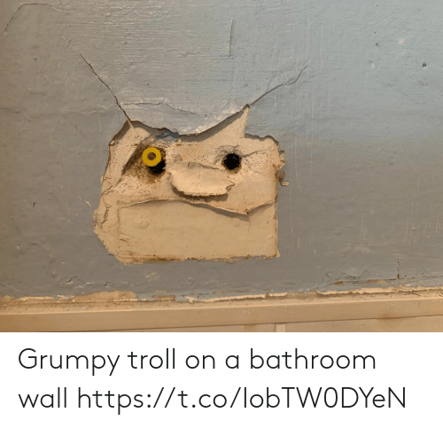 Troll, Faces-In-Things, and  Wall: Grumpy troll on a bathroom wall https://t.co/IobTW0DYeN