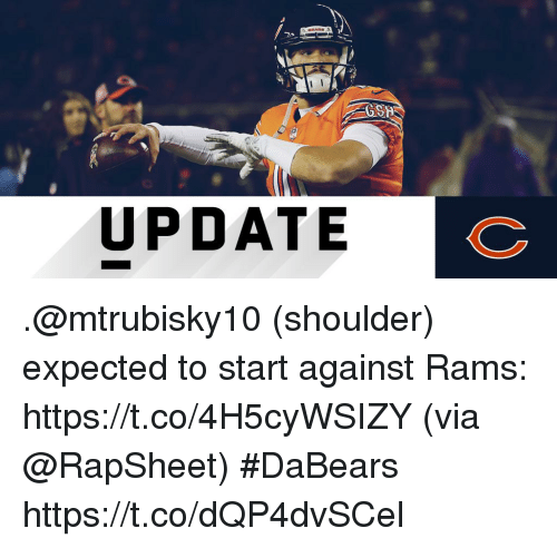 Memes, Rams, and 🤖: GSH  UPDATE .@mtrubisky10 (shoulder) expected to start against Rams: https://t.co/4H5cyWSIZY (via @RapSheet) #DaBears https://t.co/dQP4dvSCel