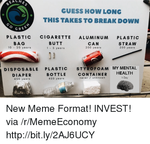 Bailey Jay, Butt, and Meme: GUESS HOW LONG  THIS TAKES TO BREAK DOWN  GREE  PLASTIC CIGARETTE ALUMINUM PLASTIC  BAG  10 20 years  BUTT  1-5 years  CAN  200 years  STRAW  200 years  DISPOSABLE PLASTIC STYROFOAM MY MENTAL  DIAPER  450 years  BOTTLE  450 years  CONTAINER HEALTH  never/ unknown  1 Day New Meme Format! INVEST! via /r/MemeEconomy http://bit.ly/2AJ6UCY