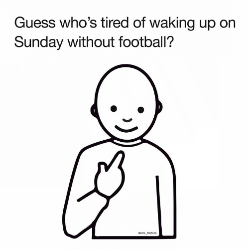 Football, Memes, and Nfl: Guess who's tired of waking up on  Sunday without football?  ONFL MEMES
