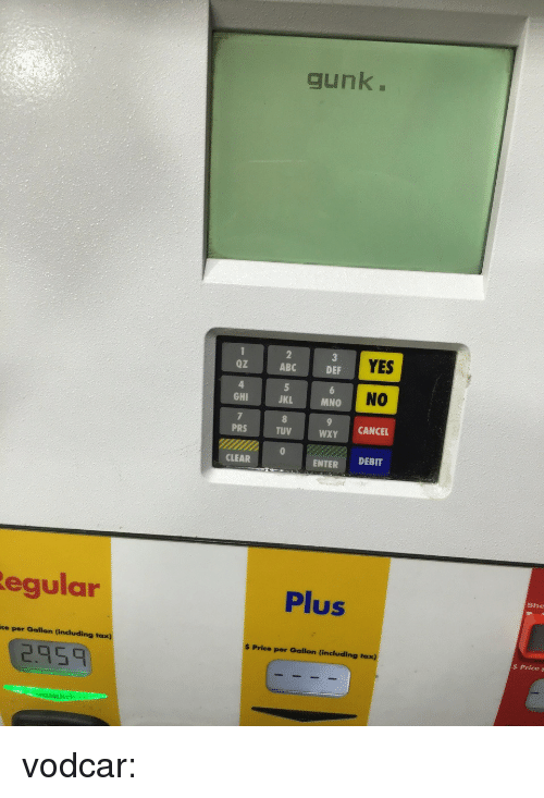 Abc, Target, and Tumblr: gunk.  Oz  ABC  YES  DEF  NO  GHI  JKL  MNO  PRS  TUV  WXY CANCEL  CLEAR  ENTER DEBIT  egular  Plus  She  ce per Gallon (including tax)  $ Price per Gallon (including taxx)  2.95  $ PriceF vodcar: