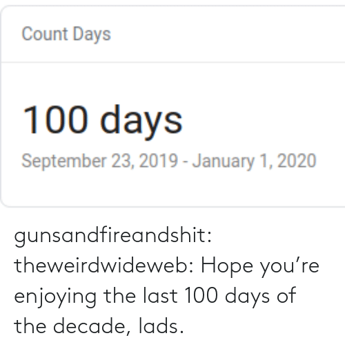 decade: gunsandfireandshit: theweirdwideweb:  Hope you're enjoying the last 100 days of the decade, lads.
